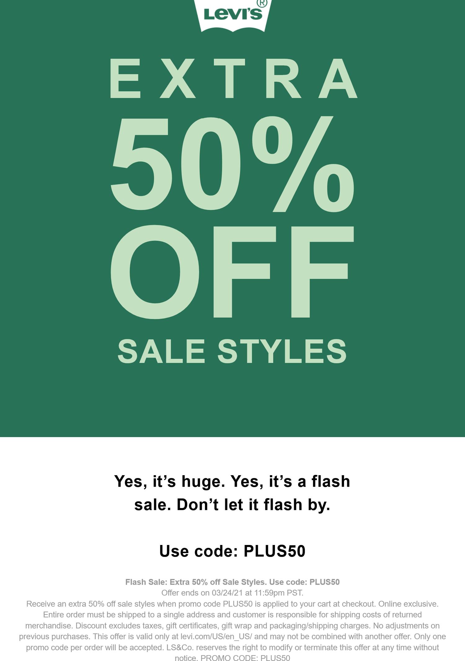 Levis stores Coupon  Extra 50% off sale styles at Levis via promo code PLUS50 #levis