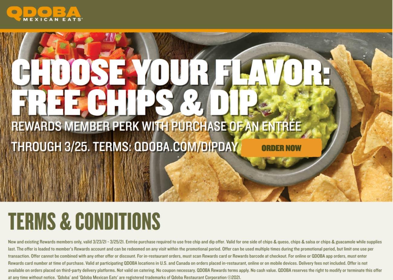 Qdoba restaurants Coupon  Free chips & dip with your entree for rewards peeps at Qdoba #qdoba