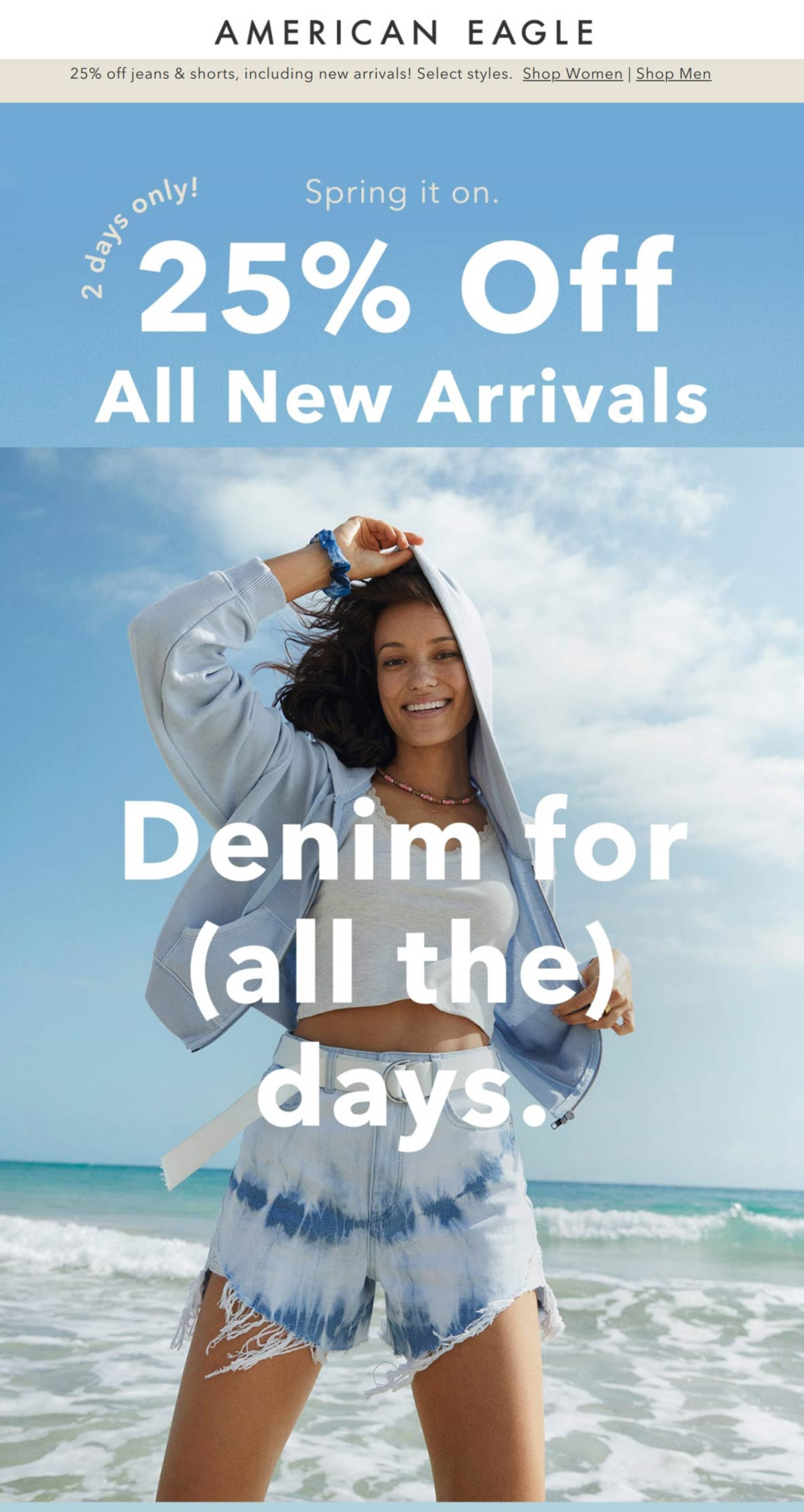 American Eagle stores Coupon  25% off jeans & new arrivals at American Eagle, ditto online #americaneagle