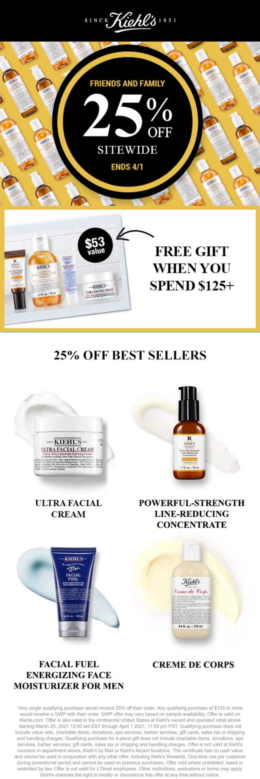 Kiehls stores Coupon  25% off at Kiehls skincare, ditto online #kiehls