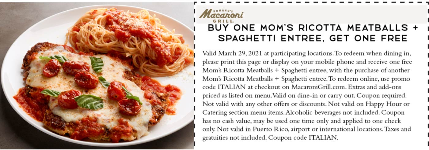Macaroni Grill restaurants Coupon  Second ricotta meatballs spaghetti entree free today at Macaroni Grill #macaronigrill