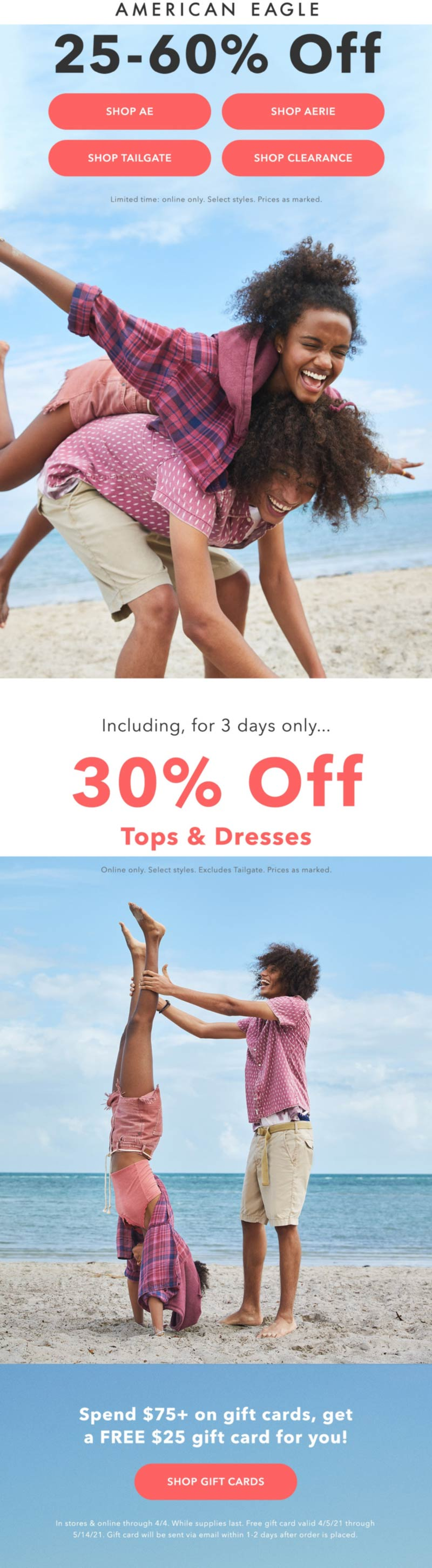 American Eagle stores Coupon  25-60% off everything online at American Eagle #americaneagle