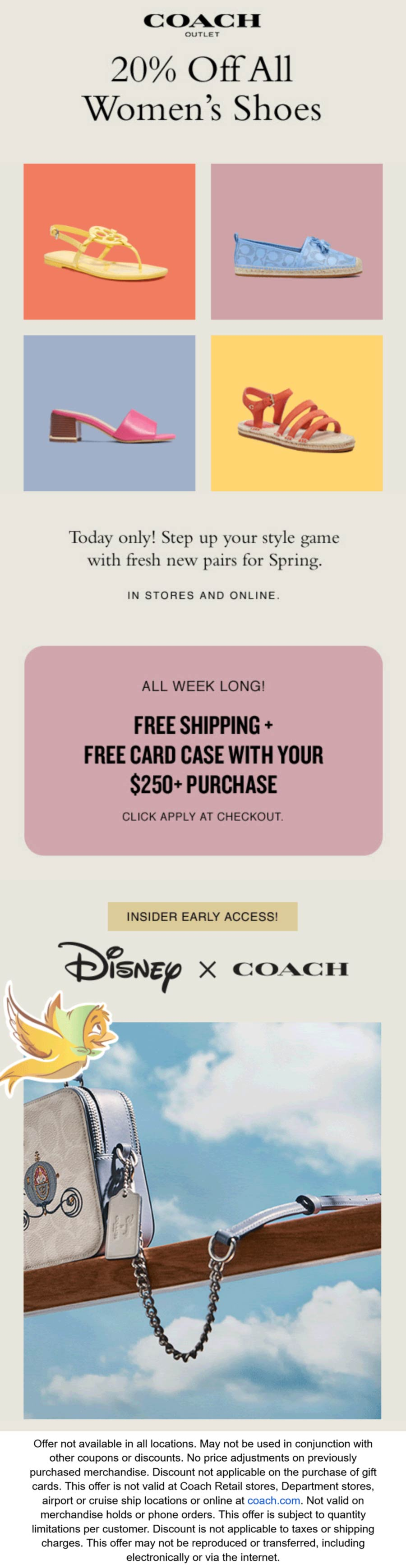 Coach Outlet stores Coupon  20% off all womens shoes today at Coach Outlet #coachoutlet