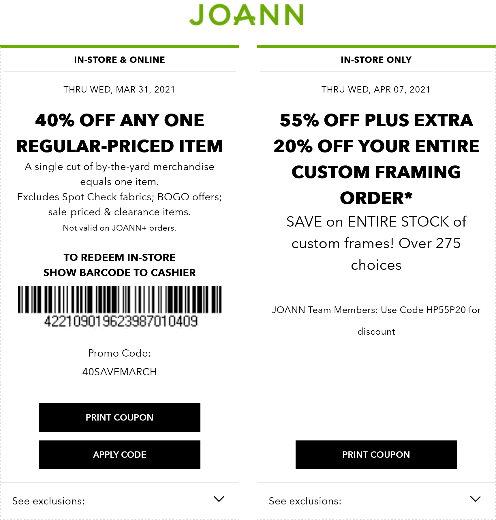 Joann stores Coupon  40% off a single item at Joann, or online via promo code 40SAVEMARCH #joann