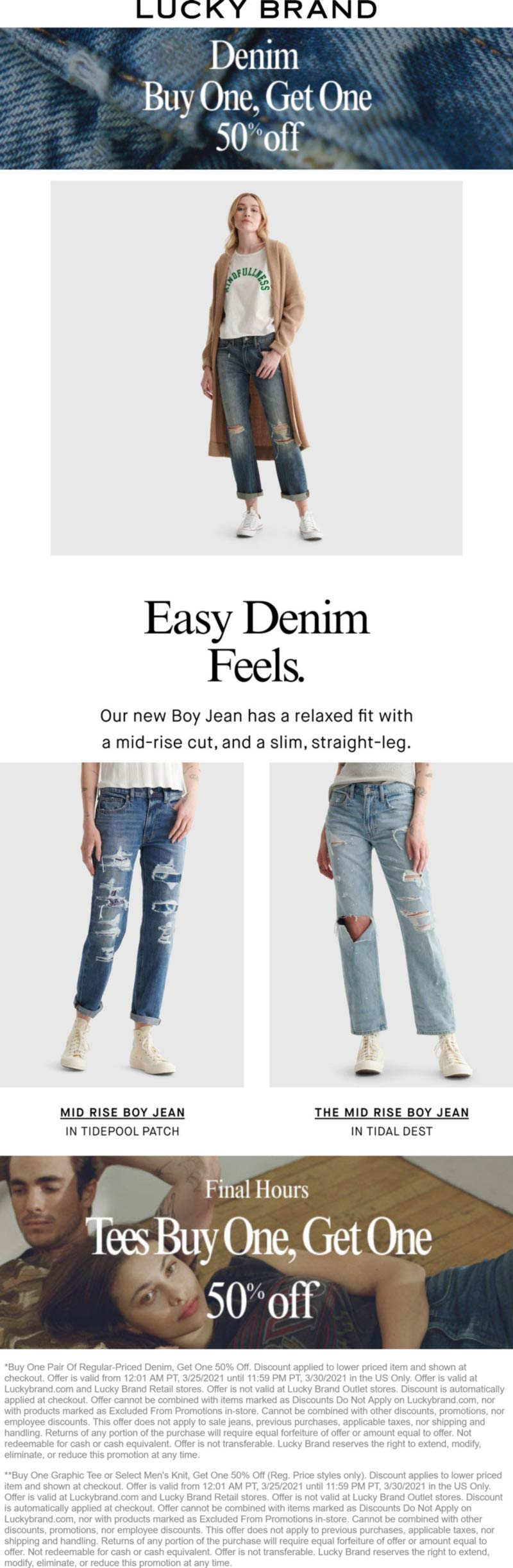 Lucky Brand stores Coupon  Second denim or tee 50% off today at Lucky Brand #luckybrand