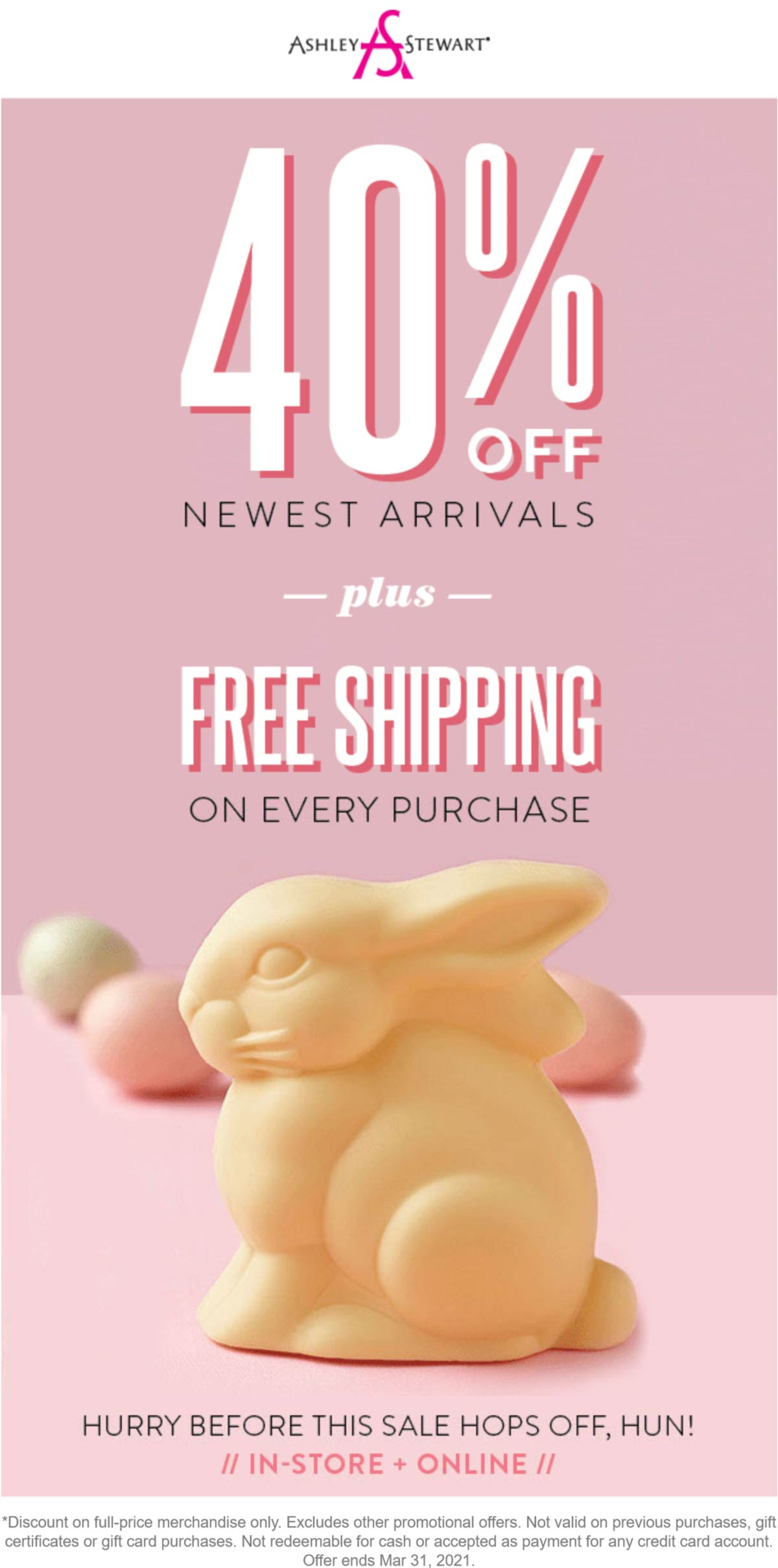 Ashley Stewart stores Coupon  40% off new arrivals today at Ashley Stewart #ashleystewart