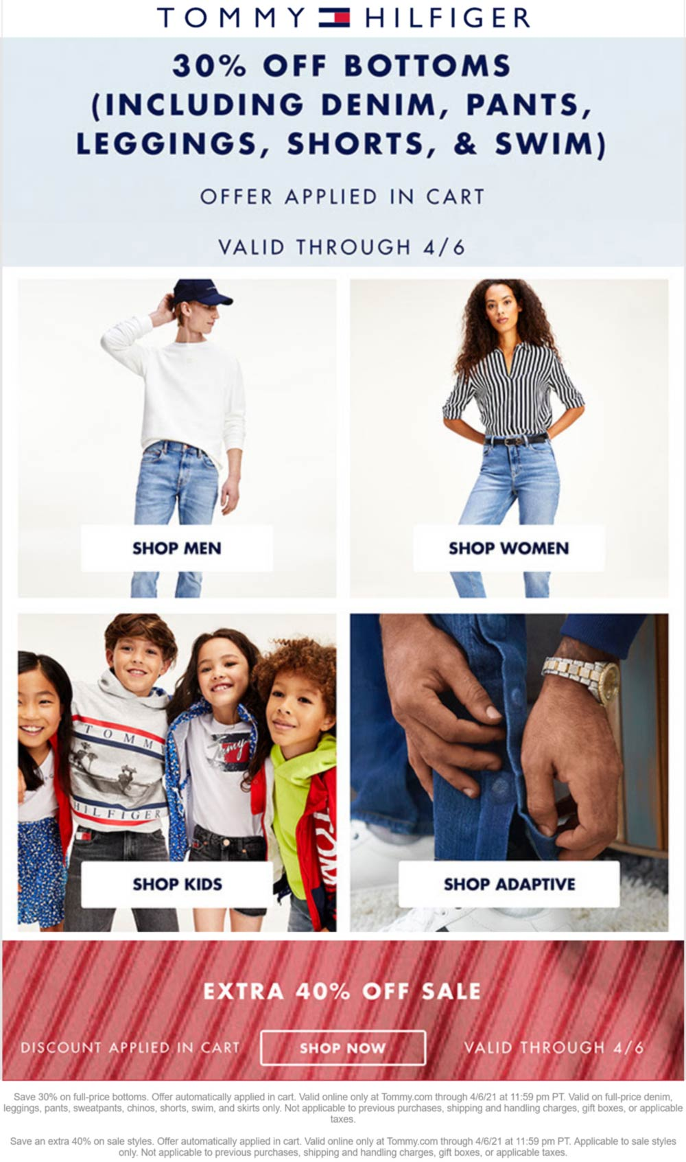 Tommy Hilfiger stores Coupon  30% off bottoms, 40% off sale items online at Tommy Hilfiger #tommyhilfiger