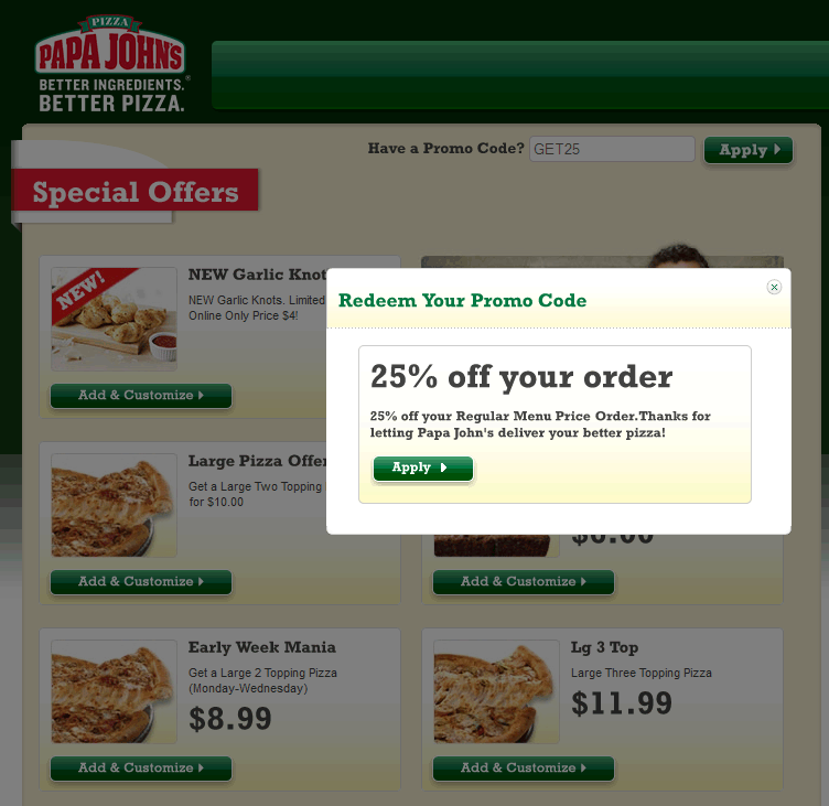 Papa Johns Today's Deals