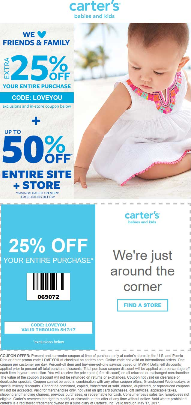 Carters Coupons 25 Off At Carters Or Online Via Promo Code Loveyou
