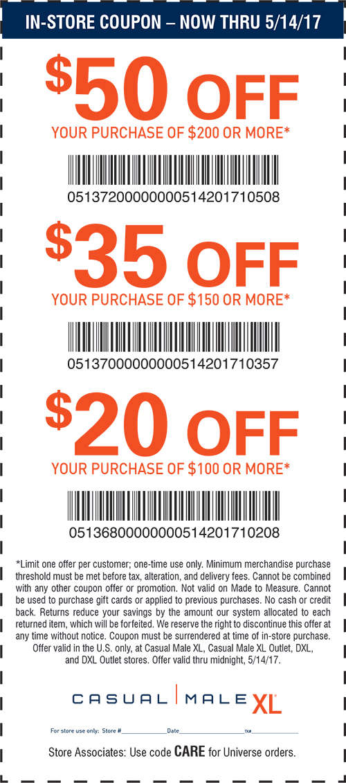 casual male xl in store coupons