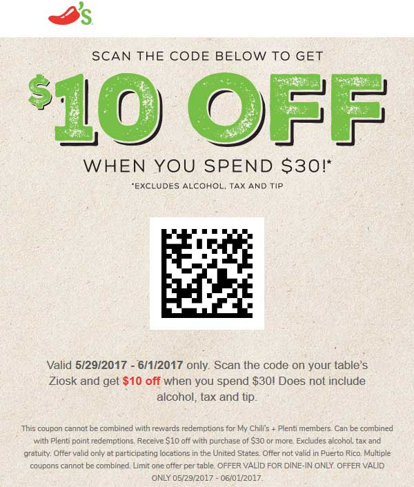 chilis restaurant coupons 2019