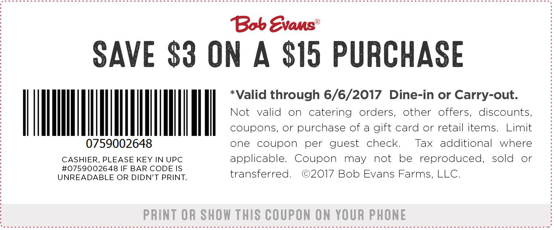 graphic regarding Bob Evans Coupons Printable named Bob Evans Coupon codes - $3 off $15 at Bob Evans dining places