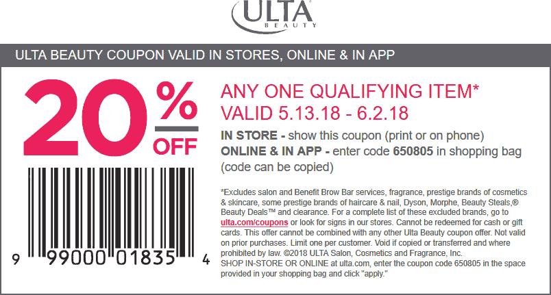 Ulta Beauty Coupons - 20% off a single item at Ulta Beauty, or