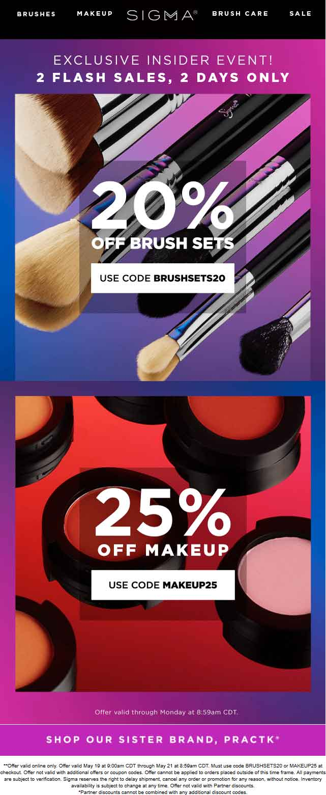 coupon for sigma brushes 2019