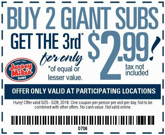 graphic regarding Jersey Mike's Printable Coupon titled Jersey Mikes Discount coupons - $2 off your sub sandwich at Jersey Mikes
