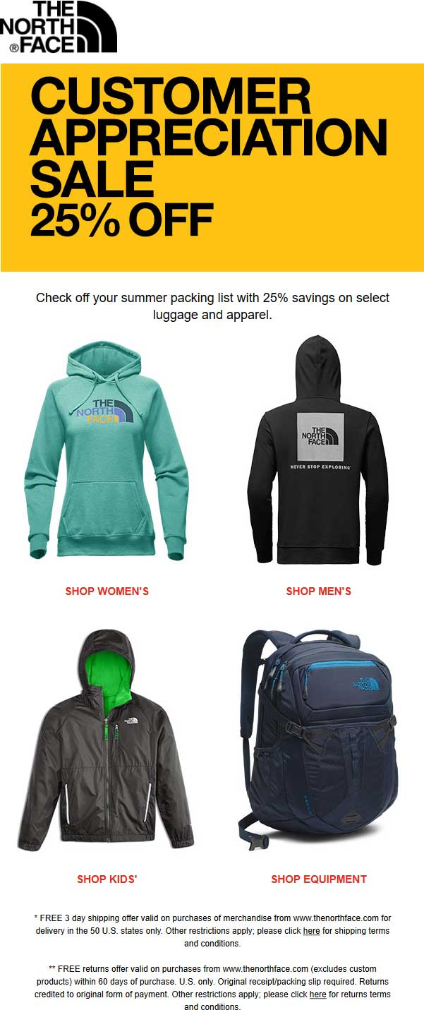 866040ebf The North Face Coupons - 25% off luggage & apparel at The North Face ...