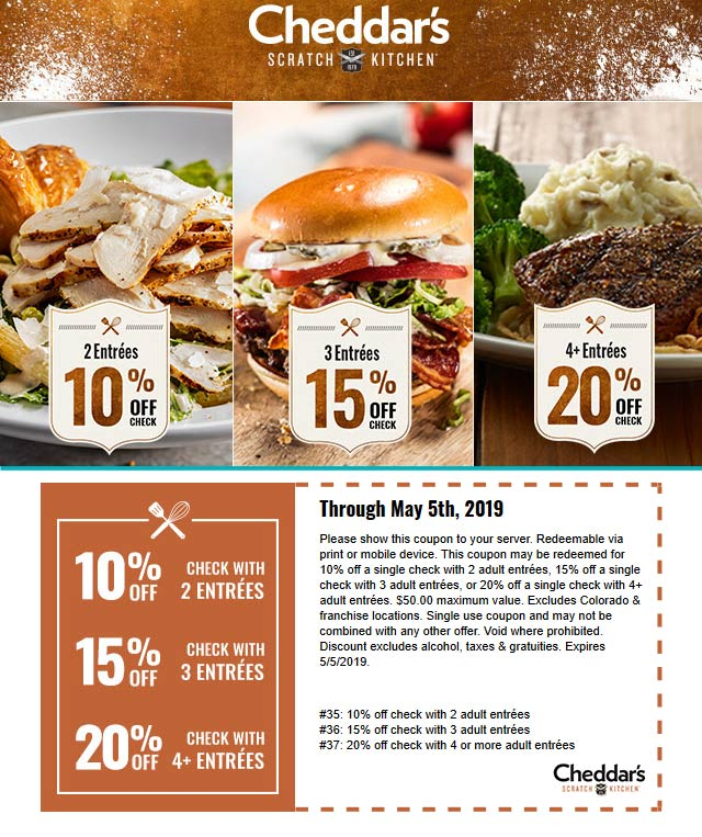 Cheddars Scratch Kitchen Coupon September 2019 10-20% off your entrees at Cheddars Scratch Kitchen