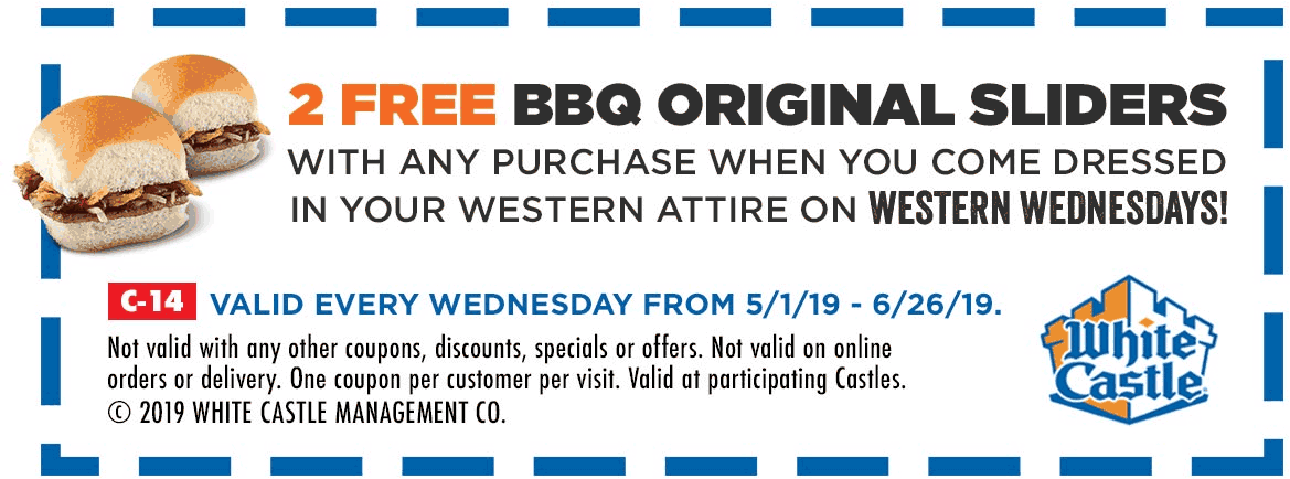 White Castle Coupon July 2019 2 free bbq sliders with your order Wednesdays at White Castle restaurants
