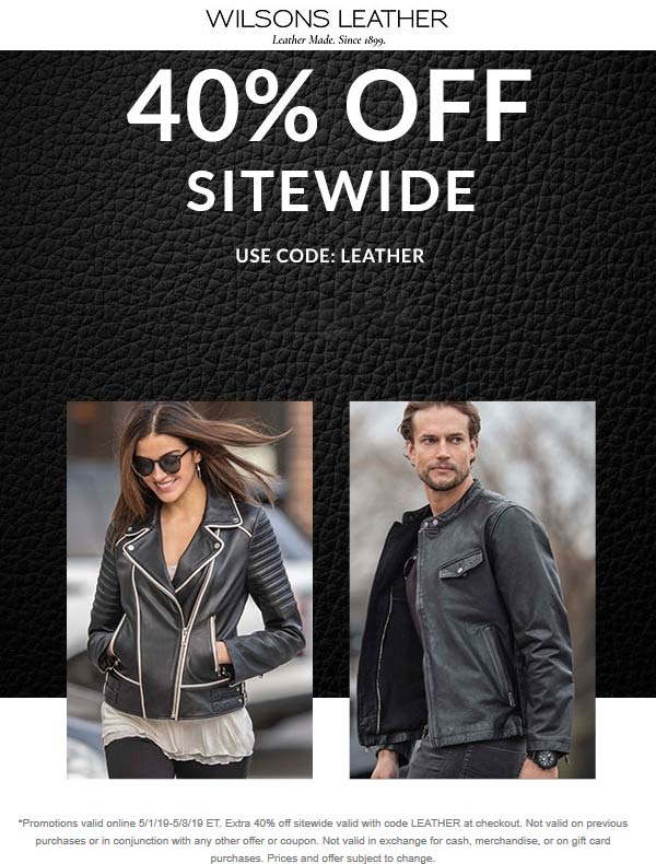 WilsonsLeather.com Promo Coupon 40% off everything online at Wilsons Leather via promo code LEATHER