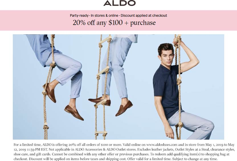 Aldo Coupon January 2020 20% off $100 at Aldo, ditto online