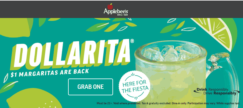 Applebees.com Promo Coupon $1 margaritas all month at Applebees restaurants