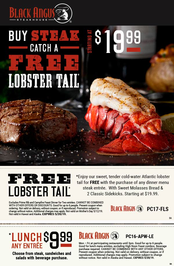 BlackAngus.com Promo Coupon Free lobster with your steak & more at Black Angus restaurants