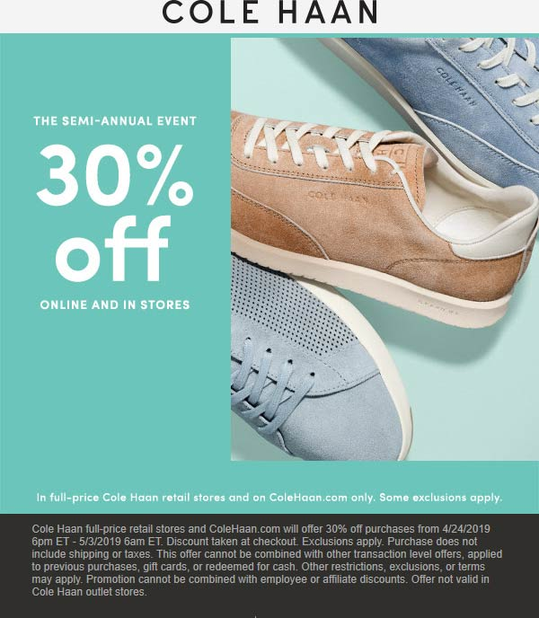 Cole Haan Coupon November 2019 30% off today at Cole Haan, ditto online