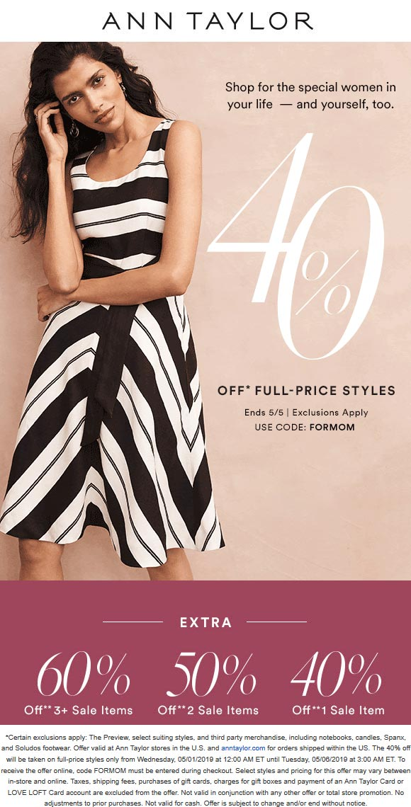 Ann Taylor Coupon November 2019 40% off & more at Ann Taylor, or online via promo code FORMOM
