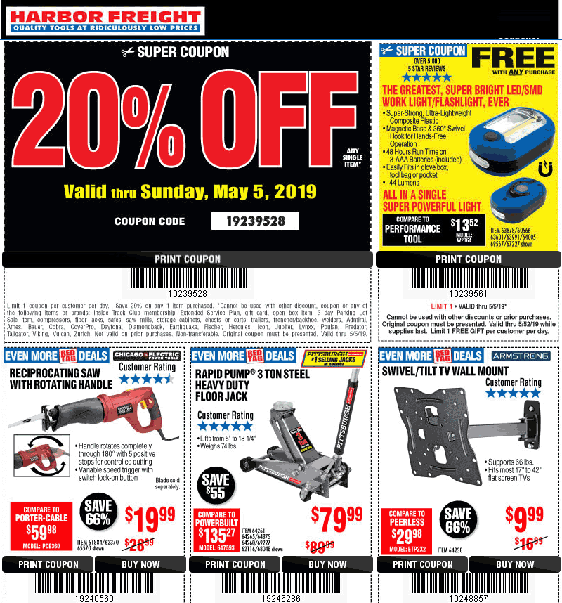 HarborFreight.com Promo Coupon 20% off a single item at Harbor Freight Tools, or online via promo code 19239528