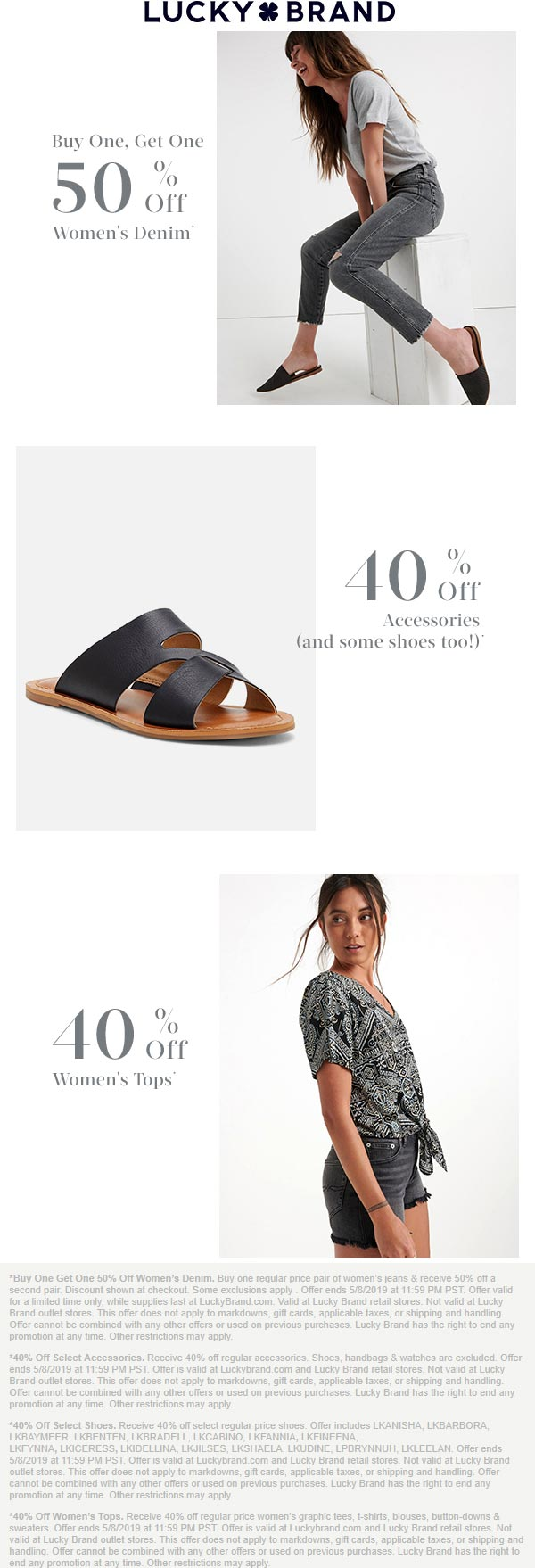 Lucky Brand Coupon May 2019 40% off & more at Lucky Brand, ditto online
