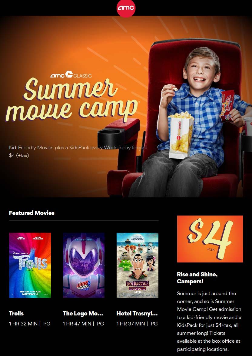 AMCTheaters.com Promo Coupon Snack pack + kids movie = $4 Wednesdays all summer at AMC Theaters