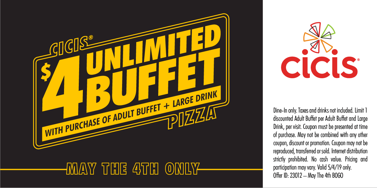 CiCis Pizza Coupon November 2019 Second buffet $4 today at Cicis pizza