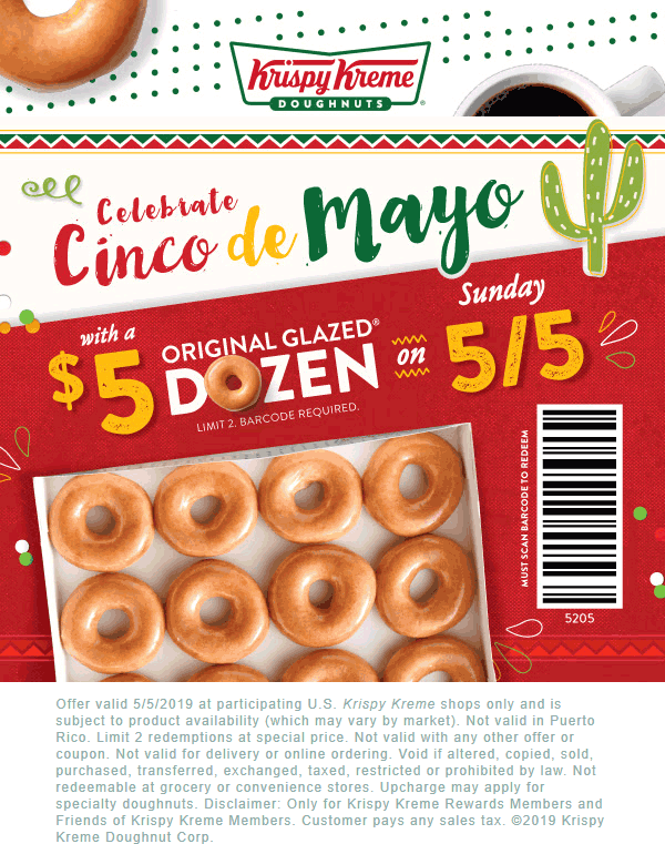 Krispy Kreme Coupon May 2019 $5 dozen doughnuts Sunday at Krispy Kreme