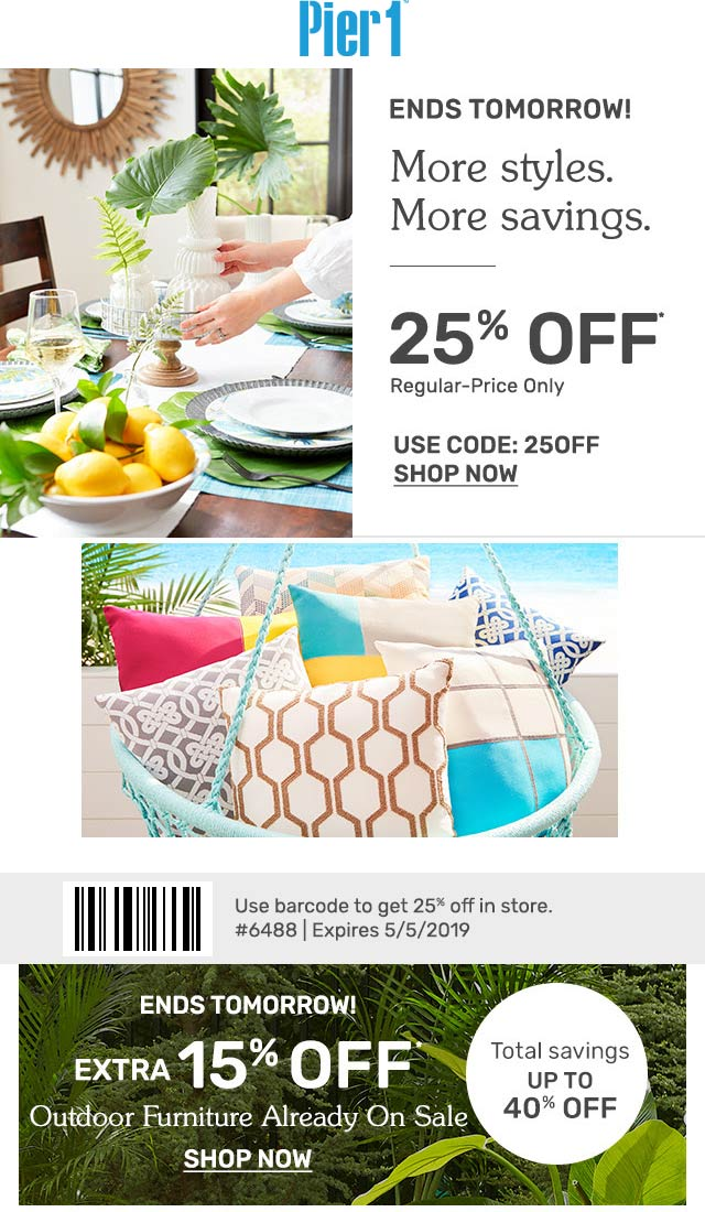 Pier 1 Coupon November 2019 25% off at Pier 1, or online via promo code 25OFF