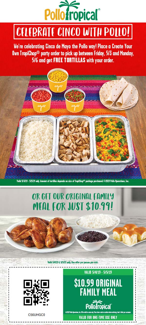 PolloTropical.com Promo Coupon $11 family meal at Pollo Tropical