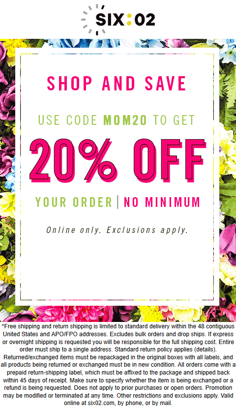 SIX:02 Coupon August 2020 20% off online at SIX:02 via promo code MOM20
