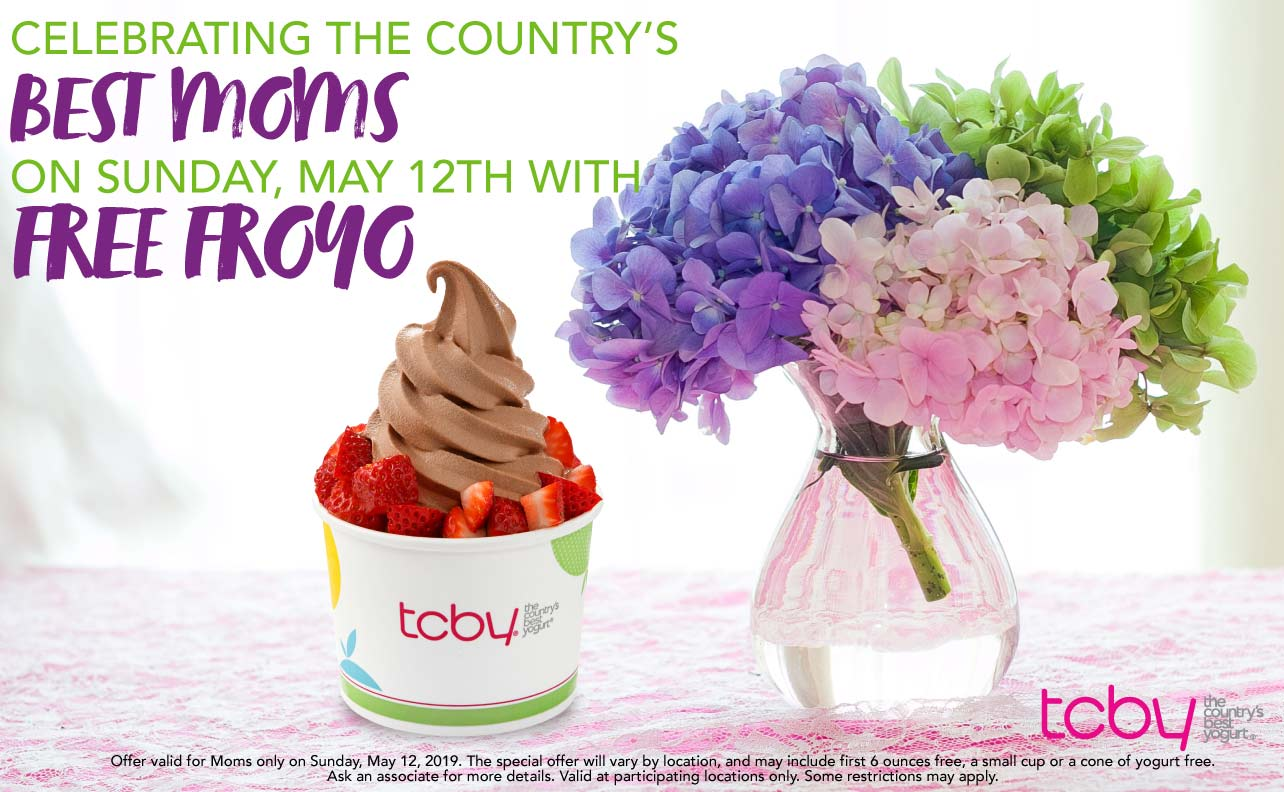 TCBY Coupon July 2019 Free frozen yogurt for Mom the 12th at TCBY