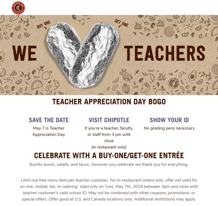 Chipotle Coupon May 2019 Teachers enjoy a second burrito free Tuesday at Chipotle