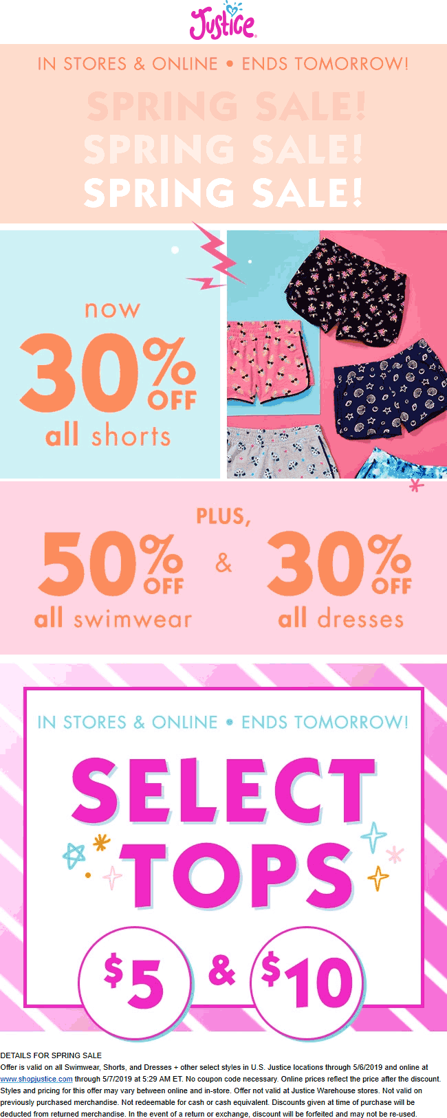 Justice Coupon September 2019 30% off shorts & dresses at Justice, ditto online
