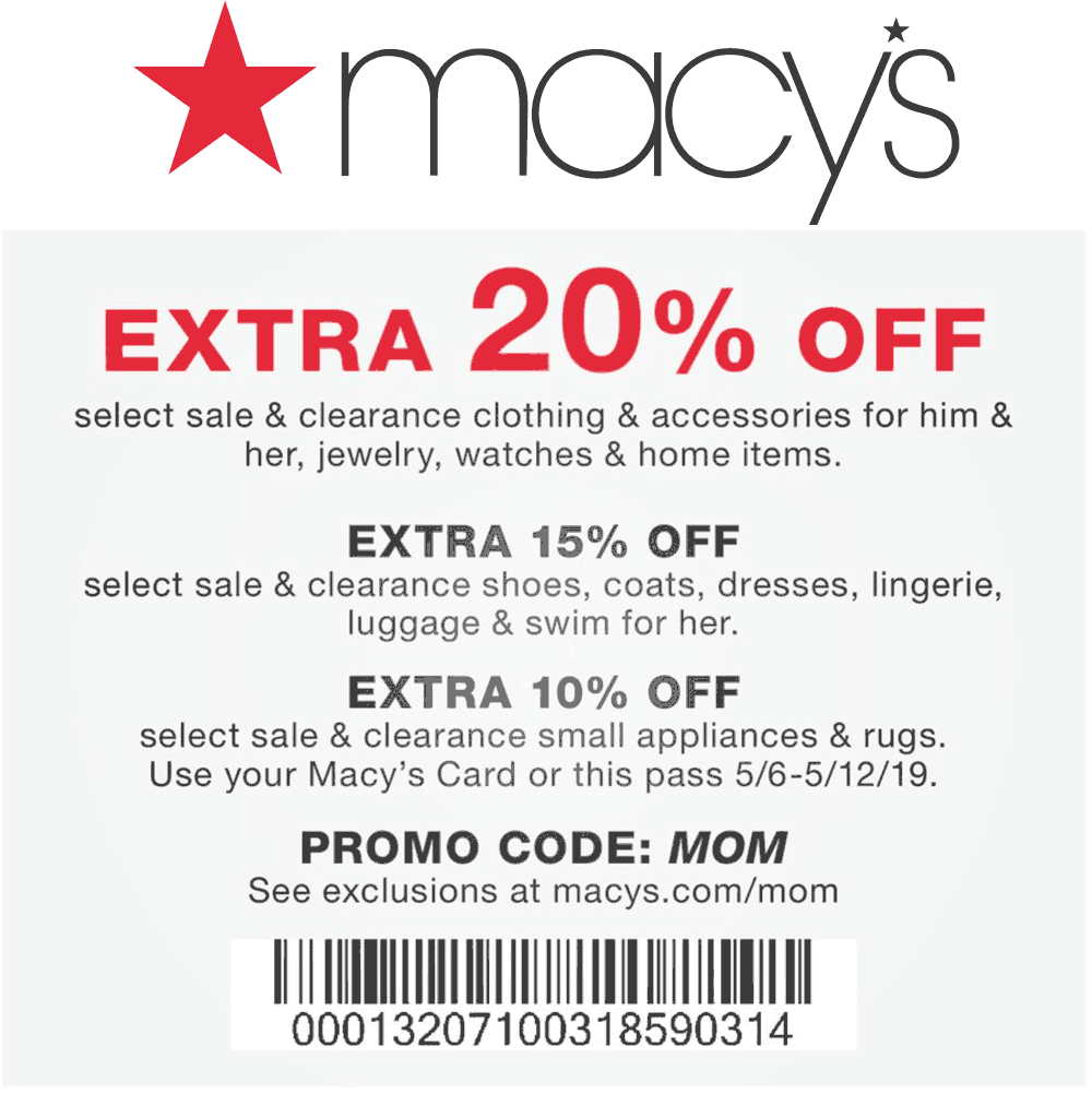 Macys Coupon July 2019 Extra 20% off at Macys, or online via promo code MOM