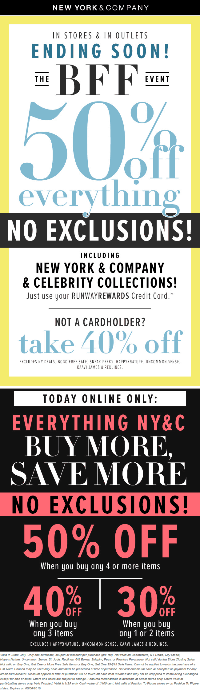 NewYork&Company.com Promo Coupon 40% off everything at New York & Company, ditto online