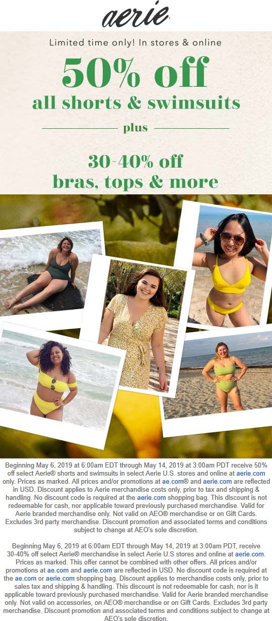 Aerie Coupon June 2020 50% off shorts & swim at Aerie, ditto online