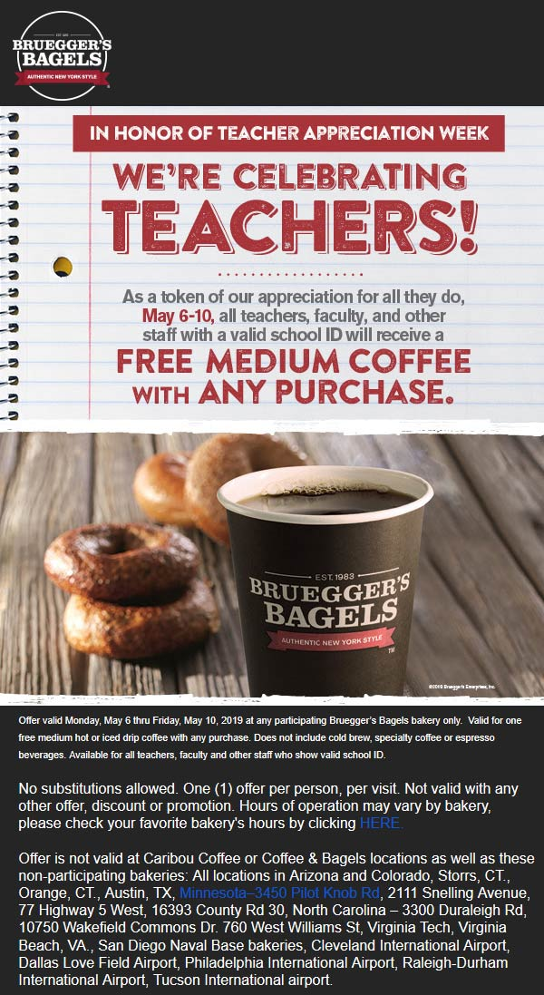 Brueggers.com Promo Coupon Teachers score free coffee with your order at Brueggers Bagels