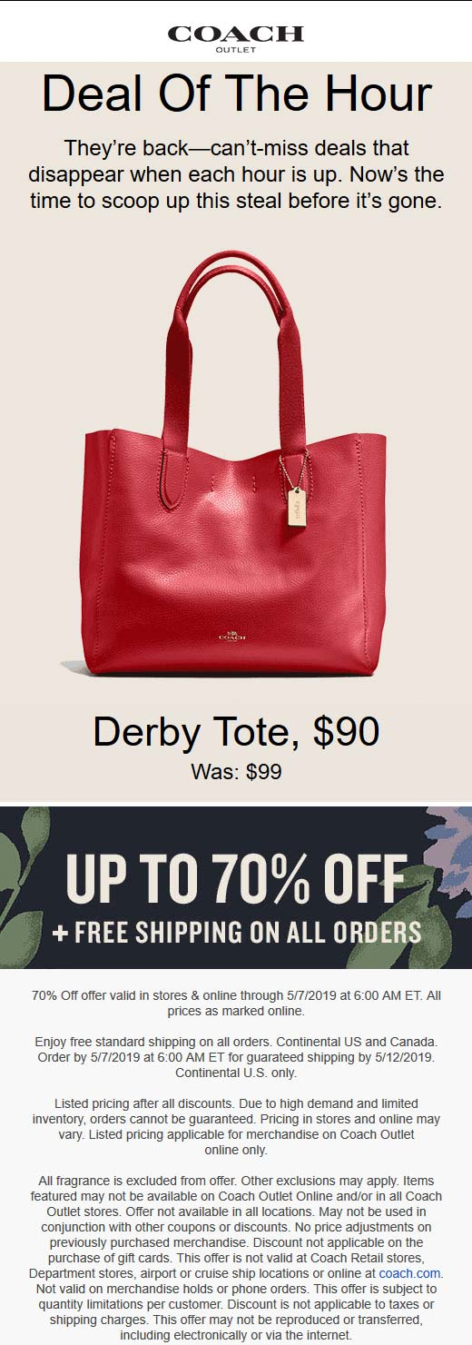 Coach Outlet Coupon May 2019 70% off at Coach Outlet, ditto online