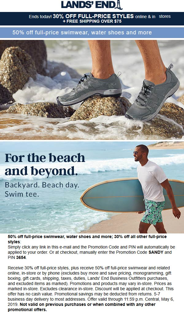 Lands End Coupon July 2019 30% off today at Lands End, or online via promo code SANDY and pin 3654