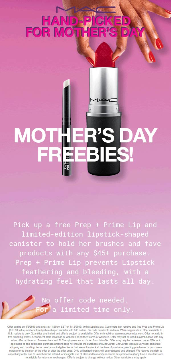 MAC Cosmetics Coupon May 2019 $18 lip care free with $45 spent online at MAC Cosmetics