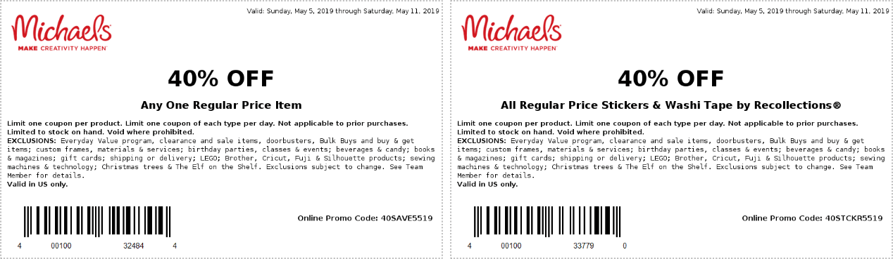 Michaels Coupon November 2019 40% off a single item at Michaels, or online via promo code 40SAVE5519
