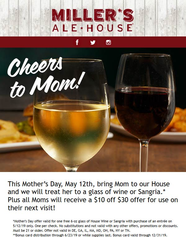 Millers Ale House Coupon February 2020 Free glass of wine for Mom Sunday at Millers Ale House restaurants