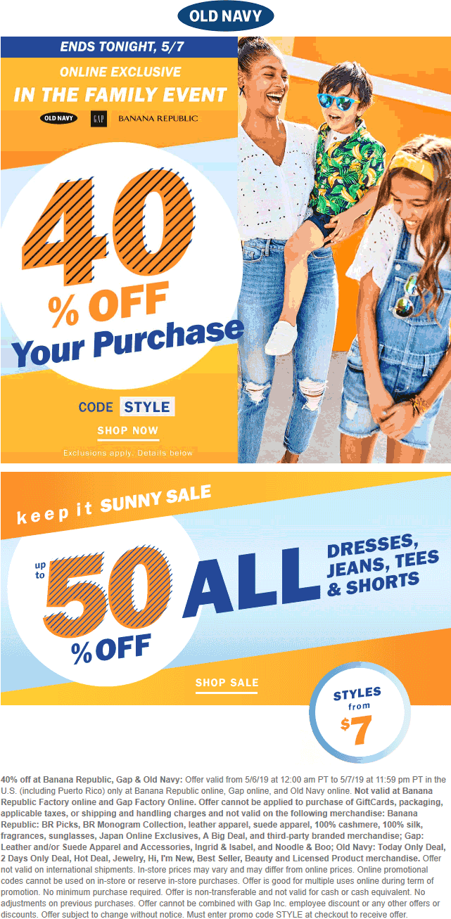 Old Navy Coupon October 2019 40% off online today at Old Navy, Gap & Banana Republic via promo code STYLE