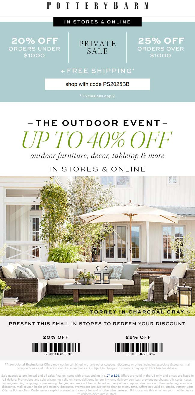 Pottery Barn Coupon October 2019 20-25% off at Pottery Barn, or online via promo code PS2025BB